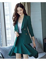 Women's Work Simple Fall Suit,Solid Shirt Collar Long Sleeve Regular Polyester