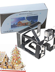 7Pcs/set Cookie Cutters 3D Gingerbread House Christmas Stainess Steel Fondant Cake Mold