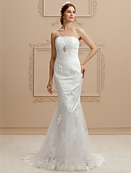 cheap -Mermaid / Trumpet Strapless Court Train Lace Tulle Wedding Dress with Beading Appliques by LAN TING BRIDE®