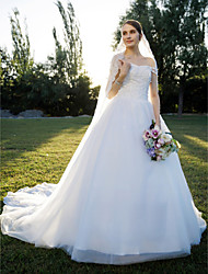 A-Line Princess Off-the-shoulder Cathedral Train Lace Tulle Wedding Dress with Lace by QQC Bridal