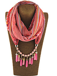 Women's Alloy Resin with Metal Clip Chiffon Infinity Scarf Print All Seasons