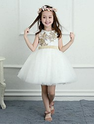 cheap -A-Line Short / Mini Flower Girl Dress - Satin Tulle Sleeveless Jewel Neck with Appliques Sash / Ribbon by LAN TING BRIDE®