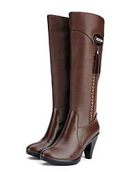 Women's Shoes Real Leather Winter Comfort Boots Chunky Heel Round Toe Knee High Boots For Casual Brown Black