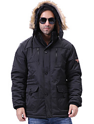 Men's Regular Padded Coat,Casual Daily Plus Size Solid-Polyester Cotton Long Sleeves Hooded