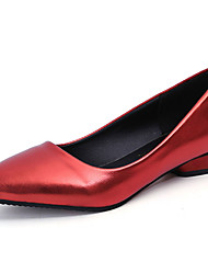 Women's Shoes PU Spring Summer Basic Pump Comfort Light Soles Heels Flat Heel Round Toe For Casual Office & Career Champagne Red Silver