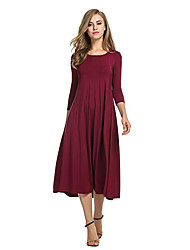 Women's Holiday Going out Casual/Daily Sheath Dress,Solid Round Neck Midi 3/4 Length Sleeves Polyester Fall Winter High Rise Inelastic