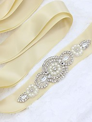 Satin/ Tulle Wedding Special Occasion Sash With Rhinestone Imitation Pearl