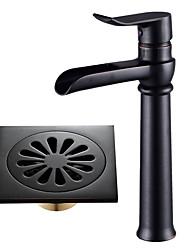 Недорогие -По центру Водопад Керамический клапан Одной ручкой одно отверстие черный, Ванная раковина кран