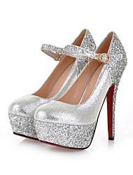 Damen Schuhe Glanz Herbst Winter Komfort High Heels Stöckelabsatz Runde Zehe Schnalle Für Hochzeit Party & Festivität Gold Silber