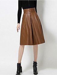 Women's Going out Casual/Daily Midi Skirts A Line Solid Fall Winter