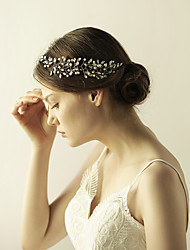 cheap -Gemstone & Crystal Tulle Imitation Pearl Rhinestone Headbands Flowers Headpiece with Crystal Feather 1 Wedding Special Occasion