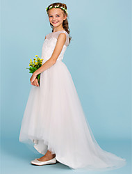 cheap -Ball Gown Crew Neck Asymmetrical Tulle Junior Bridesmaid Dress with Beading by LAN TING BRIDE®
