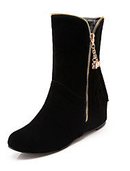 cheap -Women's Shoes Nubuck leather Spring Fall Bootie Comfort Novelty Boots Wedge Heel Pointed Toe Mid-Calf Boots Zipper Tassel for Dress