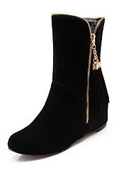 baratos -Feminino Sapatos Pele Nobuck Primavera Outono Conforto Inovador Curta/Ankle Botas Anabela Dedo Apontado Botas Cano Médio Ziper Mocassim