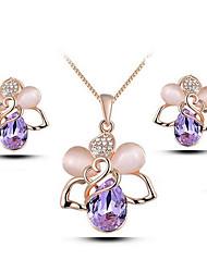 Per donna Orecchini a bottone Collana Strass Di tendenza Lega A forma di fiore Orecchini Collana Per Feste Regali di nozze