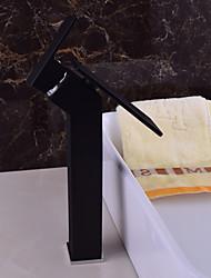 Moderna Montagem em Plataforma Cascata with  Válvula Cerâmica Monocomando e Uma Abertura for  Preto , Torneira pia do banheiro