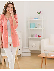 Women's Casual/Daily Simple Fall Vest,Solid Round Neck Long Sleeve Short Cotton
