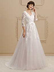 cheap -A-Line Princess V Neck Court Train Lace Tulle Wedding Dress with Beading Appliques Sashes/ Ribbons by LAN TING BRIDE®