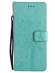 Capinha Para Samsung Galaxy NNote 8 Note 5 Carteira Porta-Cartão Com Suporte Flip Estampada Corpo Inteiro Gato Árvore Rígida Couro