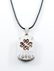 baratos -Homens Mulheres Coração Aço Inoxidável Colares com Pendentes - Amor Trevo de Quatro Folhas Coração Bronze Ouro Rose Colar Para Diário