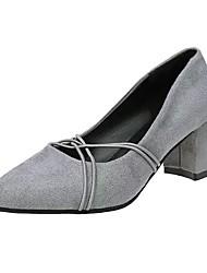 Недорогие -Для женщин Обувь Полиуретан Осень Удобная обувь Обувь на каблуках Блочная пятка Заостренный носок Пряжки Назначение Повседневные Черный