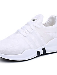 cheap -Women's Shoes Tulle Spring Fall Comfort Sneakers Flat Heel Round Toe Lace-up For Casual Black White
