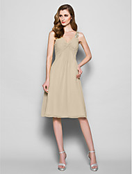 cheap -A-Line V Neck Knee Length Georgette Mother of the Bride Dress with Beading Crystal Detailing Ruched Criss Cross by LAN TING BRIDE®