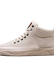 cheap -Men's Shoes PU Linen Spring Fall Comfort Sneakers Lace-up For Casual Outdoor Beige Black White