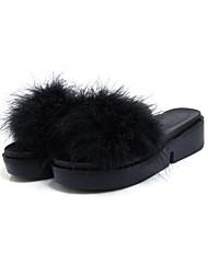 abordables -Mujer Zapatos Ante Primavera Otoño Confort Innovador Talón Descubierto Sandalias Tacón Plano Puntera abierta Pluma Para Vestido Fiesta y