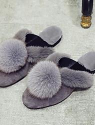 Da donna Scarpe Pelliccia Velluto Autunno Inverno Comoda Fodera di pelliccia Pantofole e infradito Piatto Appuntite Punta chiusa Pompon