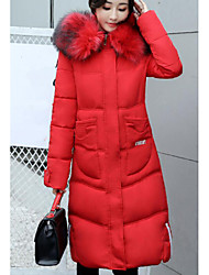 Women's Long Down Coat,Street chic Going out Casual/Daily Solid-Cotton Polypropylene Long Sleeves
