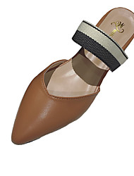 Недорогие -Жен. Обувь Полиуретан Весна Лето Удобная обувь Гладиаторы На плокой подошве На низком каблуке Заостренный носок для Для праздника Для