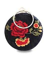 preiswerte -Damen Taschen Polyester Abendtasche Stickerei Spitze Rüschen für Veranstaltung / Fest Ganzjährig Schwarz