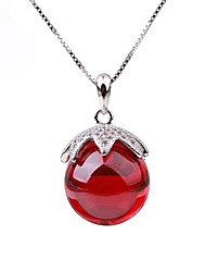 Women's Pendant Necklaces Chain Necklaces Imitation Ruby Circle Sterling Silver Rhinestone Fashion Elegant Jewelry For Evening Party