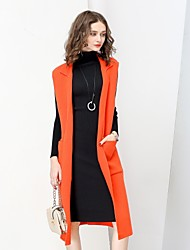 cheap -NO PEI SHU Women's Daily Work Simple Casual Street chic Winter Fall Trench Coat,Solid Notch Lapel Sleeveless Long Wool Polyester