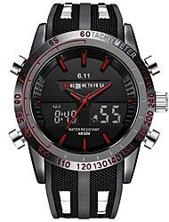 Недорогие -Муж. электронные часы Японский 30 m Защита от влаги Календарь Секундомер силиконовый Группа Аналого-цифровые Роскошь Винтаж На каждый день Черный - Черный Красный Синий / Нержавеющая сталь
