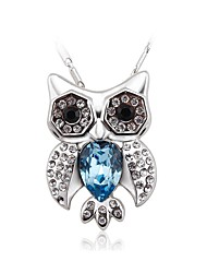 Women's Choker Necklaces Pendant Necklaces Crystal Cubic Zirconia Owl Zircon Silver Plated Fashion Personalized Jewelry For Wedding
