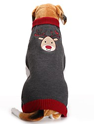cheap -Dog Coat Sweater Dog Clothes Party Holiday Casual/Daily Wedding Fashion Bodysuits Christmas New Year's Reindeer Gray Costume For Pets