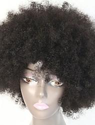 Недорогие -Жен. Человеческие волосы без парики Афро Парик в афро-американском стиле Короткие Черный