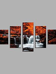abordables -Toile Abstrait,Cinq Panneaux Toile Format Horizontal Imprimé Décoration murale For Décoration d'intérieur