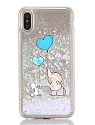 cheap -For iPhone X iPhone 8 Case Cover Flowing Liquid Transparent Pattern Back Cover Case Cartoon Elephant Hard Plastic for Apple iPhone X
