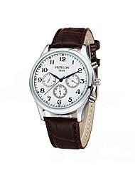 baratos -Homens Relógio de Moda Japanês Relógio Casual Couro Banda Amuleto Preta / Marrom