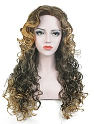 cheap -Women Synthetic Wig Capless Long Curly Brown Highlighted/Balayage Hair Party Wig Celebrity Wig Halloween Wig Cosplay Wig Natural Wigs
