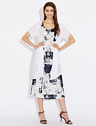cheap -Women's Party Going out Beach Vintage Cute Sexy A Line Sheath Dress,Solid Floral Print Round Neck Midi Short Sleeves Cotton Linen Spring