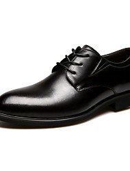 Men's Shoes Leather Cowhide Spring Summer Fall Winter Comfort Formal Shoes Oxfords Lace-up For Casual Office & Career Black Brown