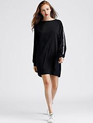 Ample Tee Shirt Robe Femme Décontracté / Quotidien Chic de Rue,Lettre Col Arrondi Au dessus du genou Manches Longues Coton Polyester