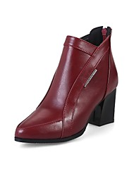 cheap -Women's Shoes Leatherette Fall Winter Fashion Boots Boots Stiletto Heel Pointed Toe Booties/Ankle Boots Buckle For Casual Dress Burgundy