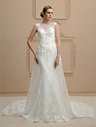 cheap -Mermaid / Trumpet Illusion Neckline Cathedral Train Lace Wedding Dress with Beading Appliques by LAN TING BRIDE®