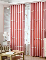 Rod Pocket Grommet Top Double Pleated Pencil Pleated Curtain Rustic , Embroidered Living Room Material Blackout Curtains Drapes Home