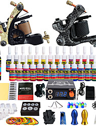 cheap -Starter Tattoo Kit 2 alloy machine liner & shader Tattoo Machine LCD power supply 28 × 5ml Tattoo Ink 2 x aluminum grip